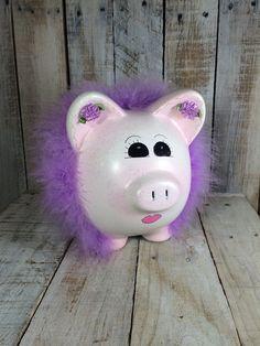 Rosa Piggy Bank Banco del cerdo púrpura hucha por BostonInventory