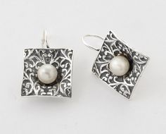 100% SOLID 6mm Round Cabs 925 Sterling Silver Earrings With Pearl Stone
