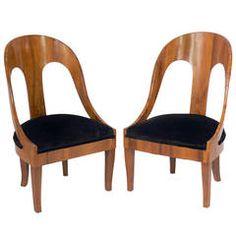 Elegant Pair of Italian Spoon Back Slipper Chairs