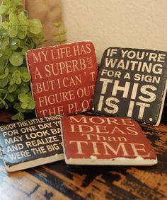 Love this Wise Words Coaster Set by VIP International on #zulily! #zulilyfinds