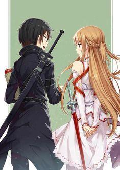Sword Art Online, Kirito + Asuna, by gabiran - Anime Kirito Asuna, Sword Art Online Kirito, Online Anime, Online Art, Manga Anime, Tous Les Anime, Sword Art Online Wallpaper, Gun Gale Online, Art En Ligne