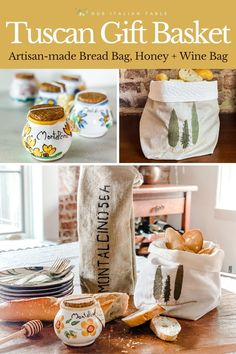 Support small businesses and artisans but sending this Meet Me in Tuscany gift set to family and friends. Featuring wildflower honey, a bread bag with embroidered Cyprus trees, and a burlap wine tote. All items are made by artisans in Italy and will bring Tuscan charm to your home. #winetote #winebag #tuscany #tuscangifts #italiangifts #madeinitaly #giftsformom #giftsforfoodies #foodiegifts #foodiegiftideas #shopsmall #artisanmade