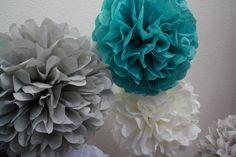 Tissue Pom Poms - Set of 10 Paper Poms - Your Color Choice- SALE. $30.00, via Etsy.