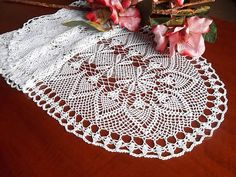 Fine lace crochet runner all handmade Size: 59 x 15,7 inches, 150 x 40 cm. Colour: White Material: cotton thread n.12 Conditions: new Every order from my shop will come to you with a little handmade gift. Instructions for care: Hand wash in cool water with a little liquid soap. It
