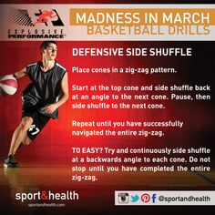 Celebrate the Madness in March with this basketball-inspired drill - the Defensive Side Shuffle. Set up cones in a zig zag pattern (or any object, cones just feel more official!) - and shuffle yourself into a great cardio workout!