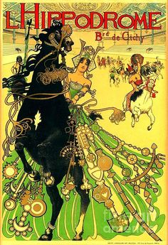 L'Hippodrome : Art Nouveau, Parisian equestrian performing circus horse poster by Manual Orazi.