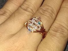 How to make sparkling crystal ring -  Wire jewelery - YouTube