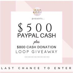 LAST CHANCE TO ENTER!! Money for you and a great cause what could be better?!! Checkout the details on the original post on how to enter!