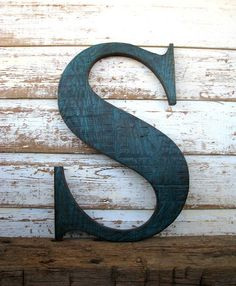 Big Wooden Letter S Painted Distressed Teal Blue, Rustic Worn Weathered Barn Wood Letter, $77