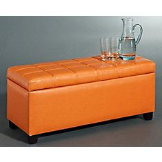Abby Storage Ottoman - Orange $129