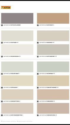 Jotun Fargekart 2019 - Identity Room Colors, Wall Colors, Colours, Paint Color Swatches, Paint Color Chart, Color Schemes Colour Palettes, Exterior Paint Colors, Color Shades, Pantone Color