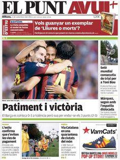 Los Titulares y Portadas de Noticias Destacadas Españolas del 2 de Septiembre de 2013 del Diario El Punt AVUI ¿Que le pareció esta Portada de este Diario Español?