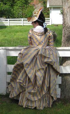 by Stitcher Baby, lovely stripes 18th Century Dress, 18th Century Costume, 18th Century Clothing, 18th Century Fashion, 19th Century, Historical Costume, Historical Clothing, Historical Dress, Vintage Outfits