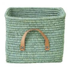 Rice Denmark Raffia Storage Basket, Mint, Leather Handles : Gifts and Accessories from Scandinavia