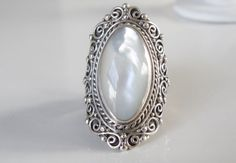 NEW HUGE Sarda Sterling Silver MOP Indonesia Bali Knuckle Ring Size 9 #Sarda #Statement