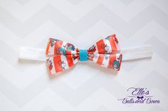 Handmade Dr. Seuss Boutique Bow with Blue by EllesBellsandBows on Etsy