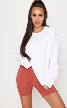 White Ultimate Oversized Sweater | PrettyLittleThing White Oversized Sweater, White Sweaters, Bodysuit Tops, White Bodysuit, Ootd, Loungewear Set, Legging, How To Roll Sleeves, Long Sleeve Bodysuit