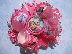 Frozen Elsa and Anna Hair Bow Pink by MommyMadeShop on Etsy, $10.99