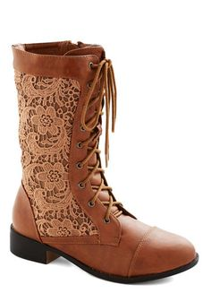 Cinnamon Grin Boot, #ModCloth Vegan boots with cinnamon lace sides. I just love these!