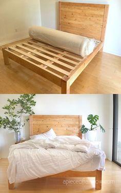 Woodworking Projects For Kids Pottery Barn Wooden Bed Frame Diy, Diy Bed Frame Plans, Build Bed Frame, Diy King Bed Frame, Bed Frame With Storage, Bed Frame And Headboard, Wood Headboard, Diy Frame, Simple Bed Frame