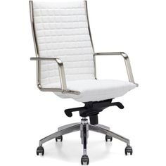 Network Desk Chair - High Back ($349) ❤ liked on Polyvore featuring home, furniture, chairs, office chairs, hi back chairs, hi back office chair, high-back chairs, chrome desk chair and tall back chairs