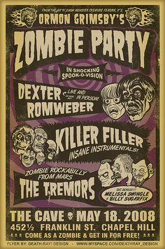 Zombie Party Poster by Death-Ray Design, via Flickr