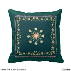 Green folk pillow