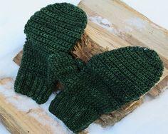 Squishy, warm crocheted mitten gloves for larger women's hands or average men's.