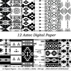 "INSTANT DOWNLOAD ""Aztec Digital Papers"" 12x12 sheets 300 dpi RGB photoshop geometric tribal paper Native American patterns Scrapbooking"
