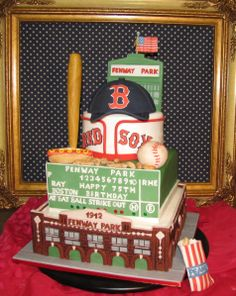 Baseball / MLB - 100% edible. Fenway Park Baseball Stadium themed cake. Fondant and gum paste.