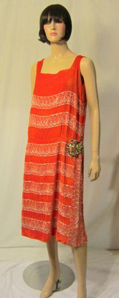1920's Vibrant Orange Silk Velvet Gown with White Glass Beadwork