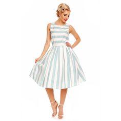 Annie Retro Striped Swing Dress in Pale Blue