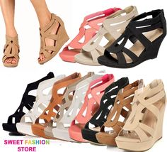 NEW Women High Heel Gladiator Wedge Sandal~Open Toe Platform Fashion Pump Shoe  #TopModa #PlatformsWedges