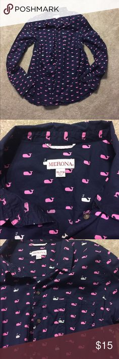 """MERONA Whales Button Up Shirt, XL Bring on the whales! Sleeves are 25.5"""" long from shoulder to cuff; shirt is 27"""" from collar to tail. Merona Tops Button Down Shirts"""