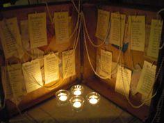 wedding table plan in a retro travel case
