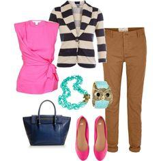 "{ Teacher Style } ""pops of color"" Camel tan career pants, hot pink sleeveless blouse, black and white stripe blazer, turquoise bracelets, hot pink flats."