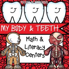Dental health themed activities and centers for preschool, pre-k,and kindergarten (FREEBIES too). Perfect for a dental heath, tooth, or a my body theme. Math Literacy, Literacy Skills, Literacy Activities, Literacy Centers, Body Preschool, Preschool Crafts, Preschool Teachers, Mini Marshmallows, Build Math