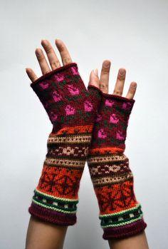 Bohemian Fingerless Gloves  Long Red Tones Fingerless by lyralyra
