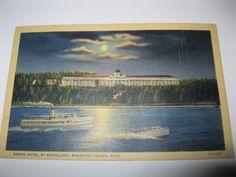 GRAND HOTEL MOONLITE MACKINAC ISLAND MI Posted 1915-1930 Art Colortone Postcard