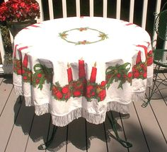Vintage Christmas Tablecloth Red Green by LouChristieAntiques