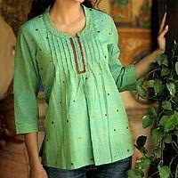 Summery. {Lemon Lime cotton blouse by Ritu Agnihotri | Novica}