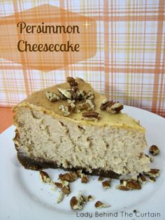 Take advantage of this wonderful fall fruit! This thick New York Style PERSIMMON CHEESECAKE is delicious, creamy and full of persimmon flavor. Cheesecake Recipes, Dessert Recipes, Dessert Ideas, Just Desserts, Delicious Desserts, Persimmon Recipes, Persimmon Cookies, Chocolate Pies, Pastry Cake