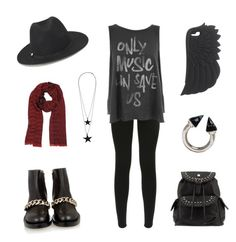 Yeah... :3 by dadyrabbit on Polyvore featuring polyvore fashion style Junk Food Clothing J Brand Parfois Vita Fede Pieces Maison Scotch Moschino forever school black day bad