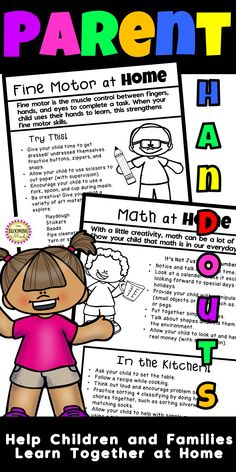 Parent Handouts are a fun and easy way for families to support their child's learning at home! These handouts are aligned with PREK standards and include tons of ideas and activities to try at home. Send these home at the beginning of the year, at Open House, Parent Teacher Conferences, over breaks, all at once, or over the course of the year! Skill building for math, reading, science, social studies, health, social emotional, and fine motor skills. #preschool #prekparents #parenthandouts