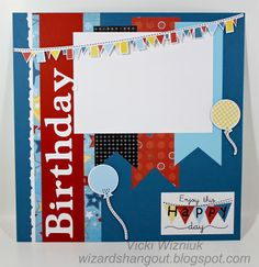 CTMH Birthday layout - fanfare - left side page