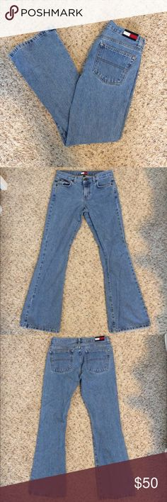"""Vintage Tommy Hilfiger Jeans Sz 5 Holiday Wide Leg Super cute authentic vintage Tommy Hilfiger jeans. Holiday Wide Leg Hip Jean style. Logo on the back. Size 5. Would say these equate to a size 24 or 25. Across 14.5"""". Inseam 31"""". Made in Mexico. 100% Cotton. 👖😍 Tommy Hilfiger Jeans Flare & Wide Leg"""