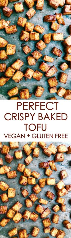 Tofu has to be one of my favourite foods! Sometimes I get an intense craving for this Perfect Crispy Baked Tofu and I just have to go and make it. It's super easy and a perfect simple recipe … Vegan Dinner Recipes, Tofu Recipes, Vegan Recipes Easy, Whole Food Recipes, Cooking Recipes, Free Recipes, Vegan Foods, Vegan Dishes, Vegan Vegetarian