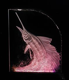 Carving glass. Marlin.