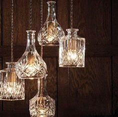 These are lampshades made from vintage decanters. No tutorial; they are for sale at a facebook page. But I think with the proper tools they could be a cool DIY project.