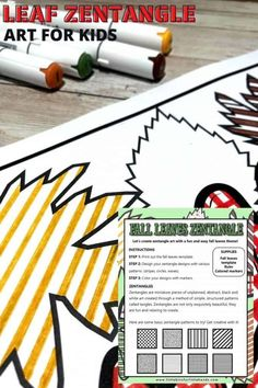 Leaf zentangle art activity for kids is easy and relaxing to do. Get our free printable zentangle leaf download to get started. Autumn Activities For Kids, Color Activities, Stem Activities, Fall Projects, Projects For Kids, Drawing For Kids, Art For Kids, Fall Leaf Template, Zentangle Patterns